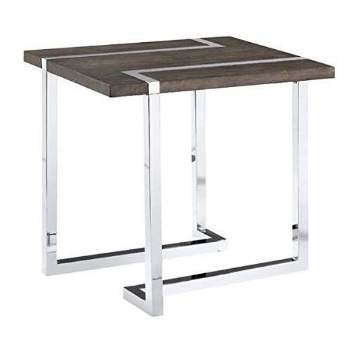 L Shaped Metal Base End Table With Birch Top