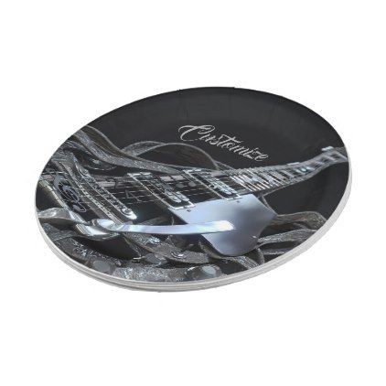 Silver Grey Electric Guitar Paper Plates