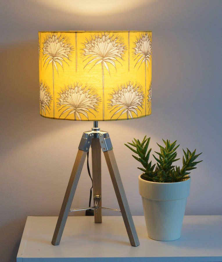Yellow 'Cotttonbuds' Handmade Drum Lampshade Lamp shades