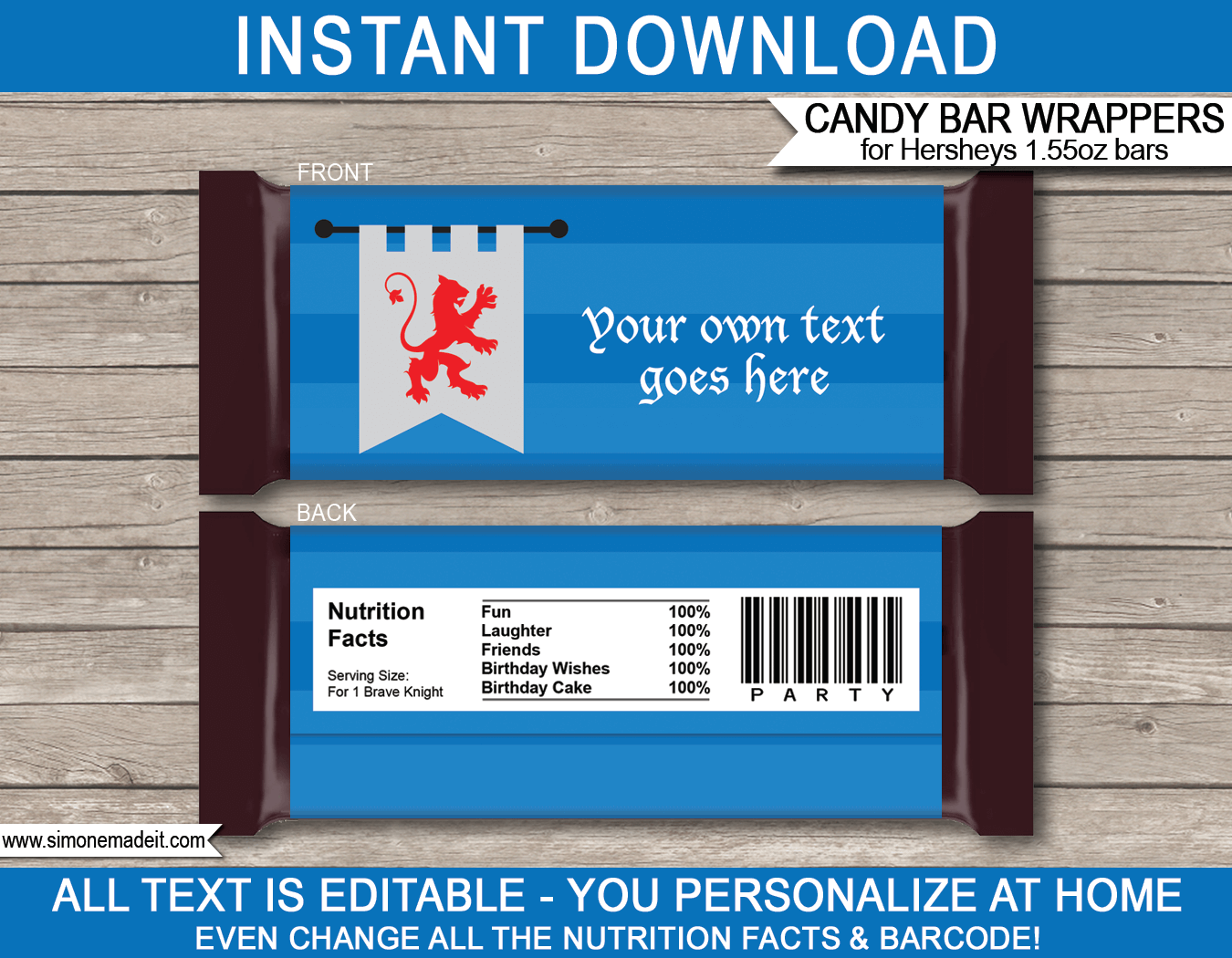 Knight Hershey Candy Bar Wrappers template