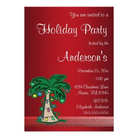 Christmas Palm Tree Holiday Party Invitation Holiday party - holiday party invitation