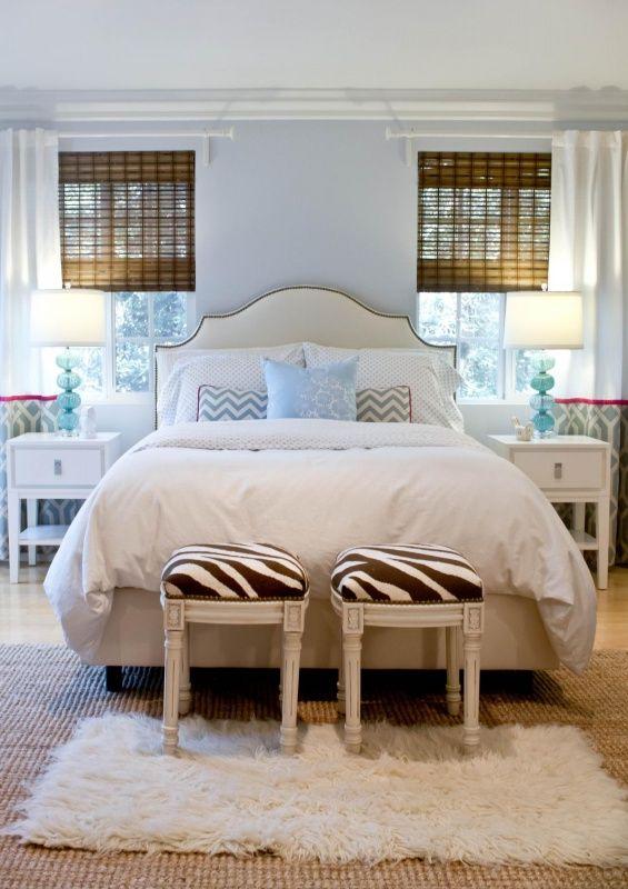 vanessa de vargas, turquoise interior design firm, zebra benches, upholstered headboard, turquoise lamps, white shag rug