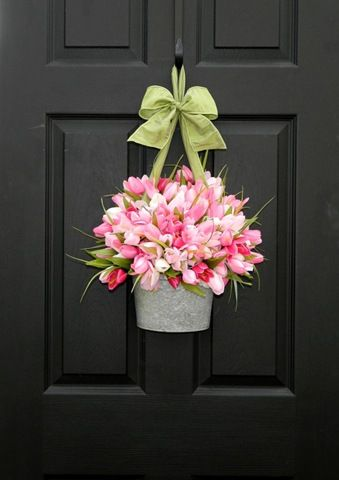 Delightful Cheap Decorating Ideas. Spring WreathsEaster WreathsBlack DoorsFront ...