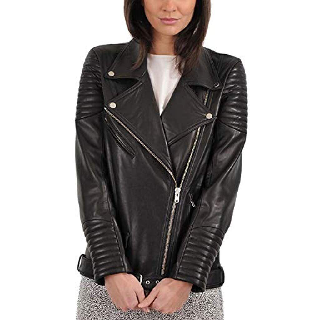 Pristine Leather Womens Genuine Lambskin Leather Black Blazer Coat Jacket WJ-090