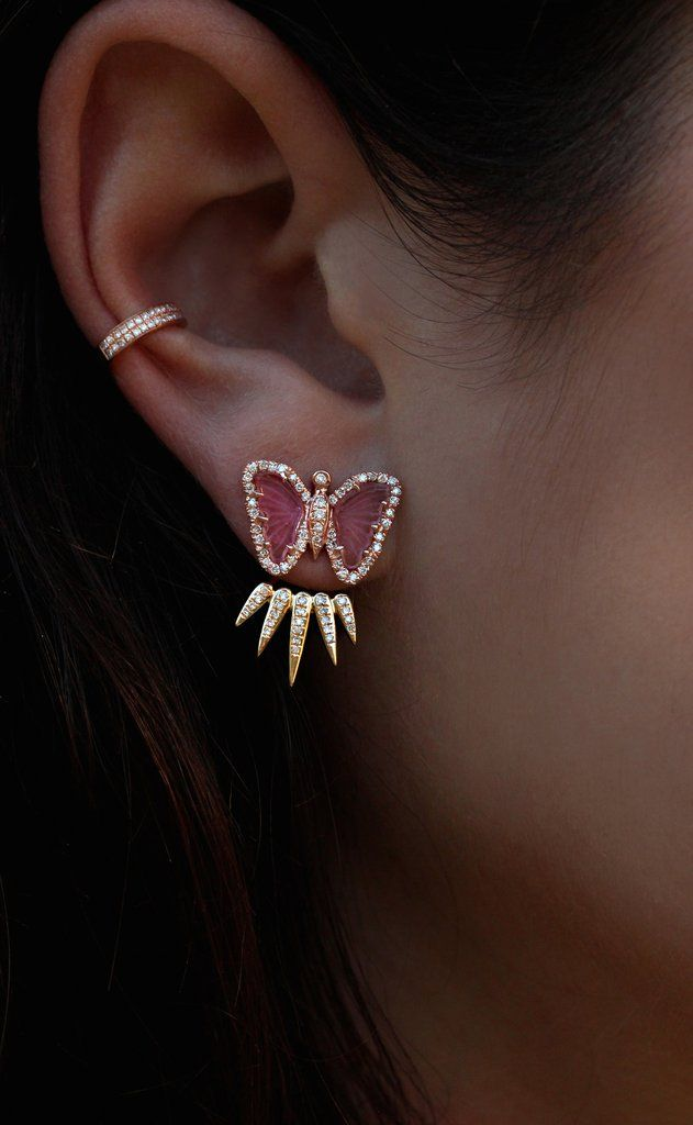 14kt rose gold and diamond pink tourmaline butterfly stud earring – Luna Skye