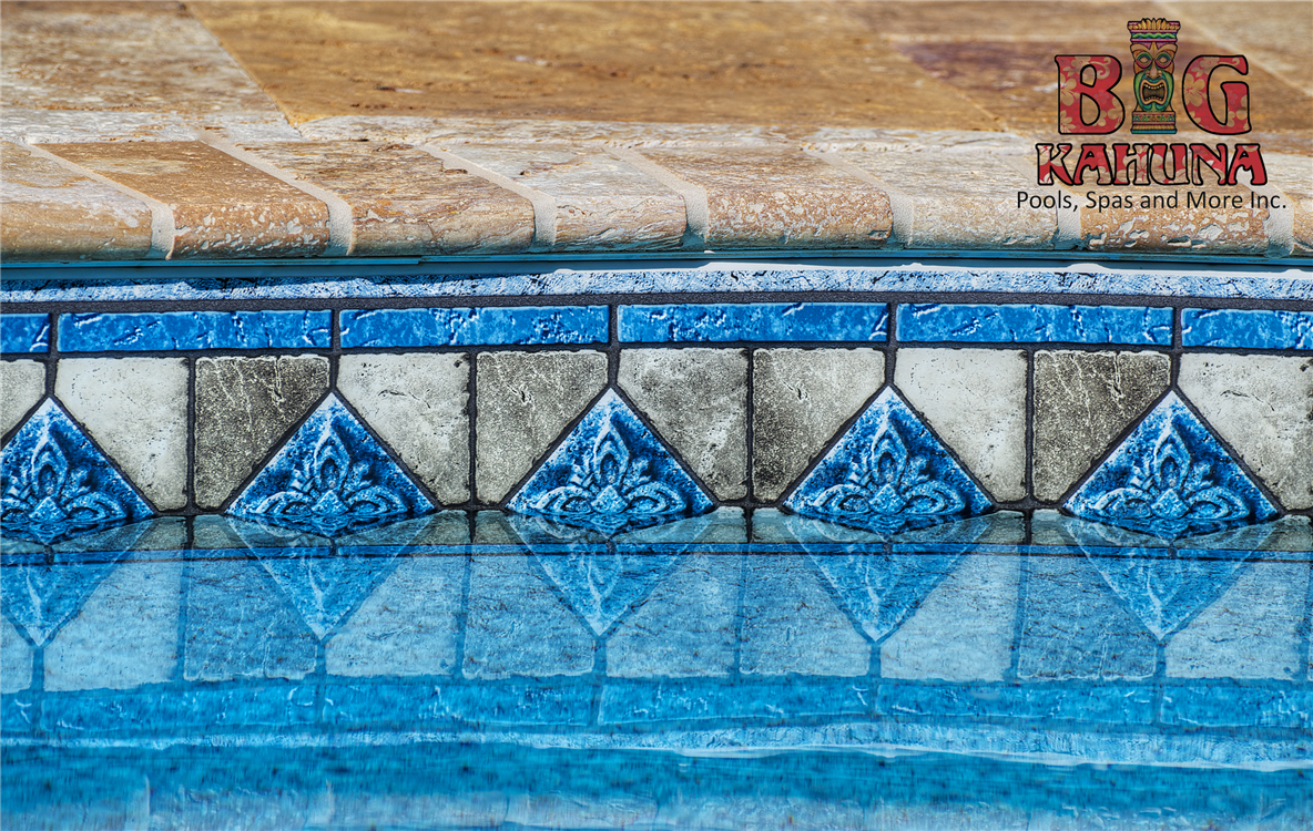 Water Line Pool Tile | Waterline Tile with travertine Coping | Pools ...