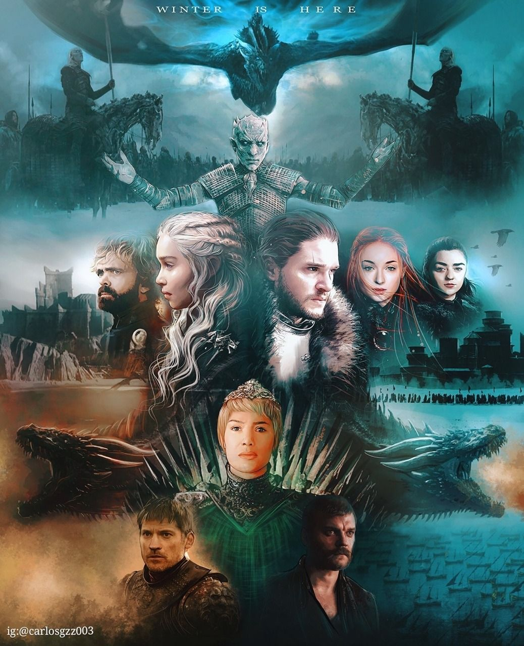 Some Incredible Game Of Thrones Season 7 Fan Arts From Carlosgzz0033 From Instagram Daene Game Of Thrones Artwork Game Of Thrones Illustrations Winter Is Here Starks game of thrones season 7