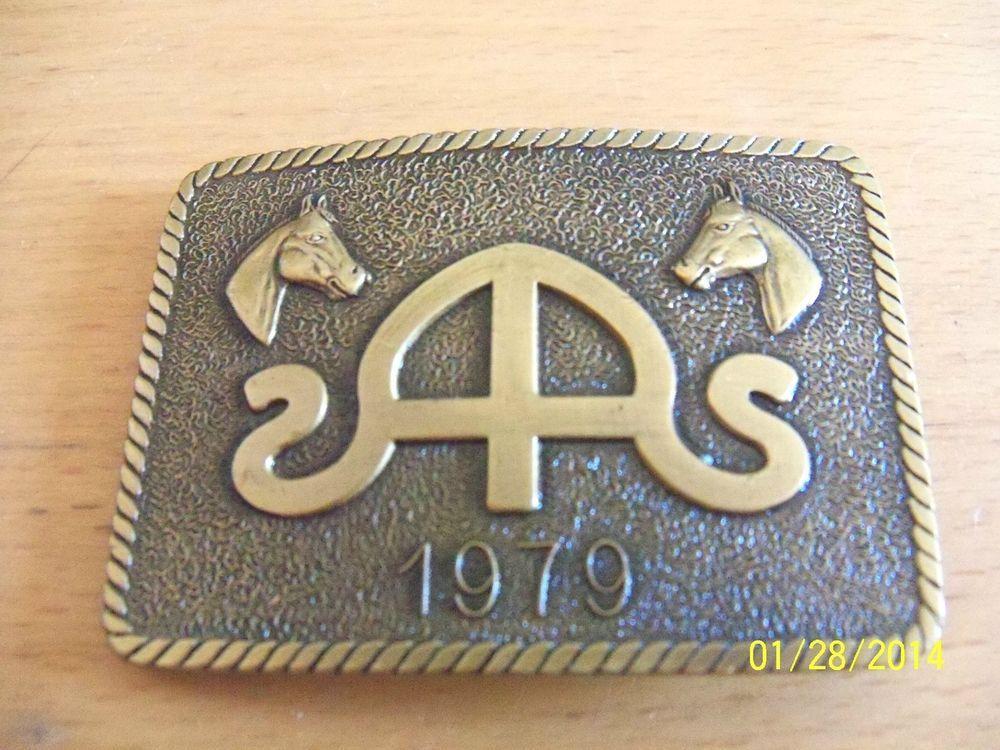 Vintage Brass Horse Belt Buckle 1979 Broadway Ford Metal
