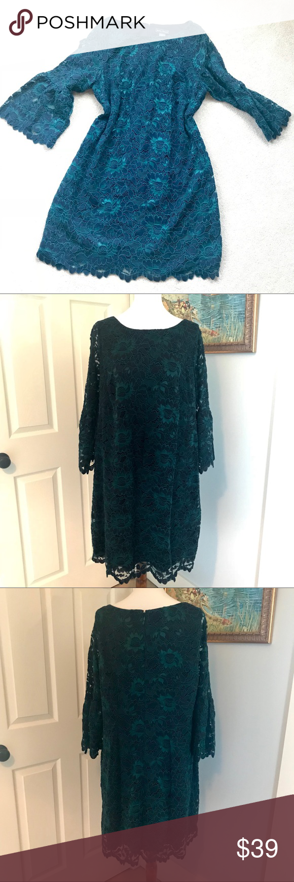 Green dress with lace overlay  Jessica Howard Plus w green lace dress EUC in   My Posh