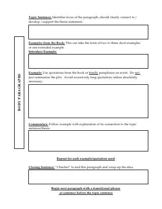 Literary Analysis Outline Literary Analysis Analysis Essay Plan