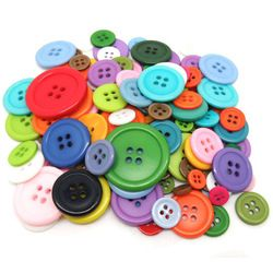 HOUSWEETY 50 White Round Resin Sewing Buttons Scrapbooking 23mm