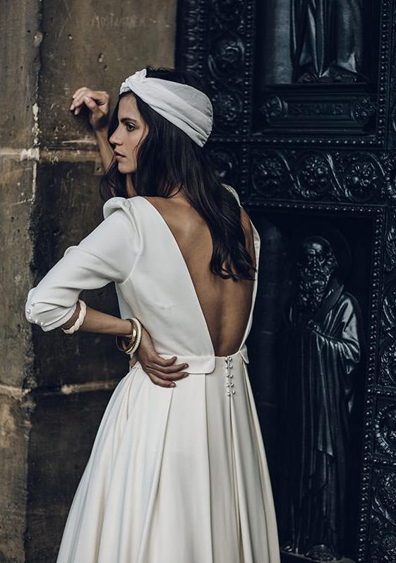 vestido de novia parisino retro-vintage en raso con media manga de