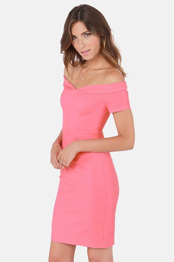 Meant to Be Off-the-Shoulder Pink Dress at LuLus.com! | Dress Vs ...