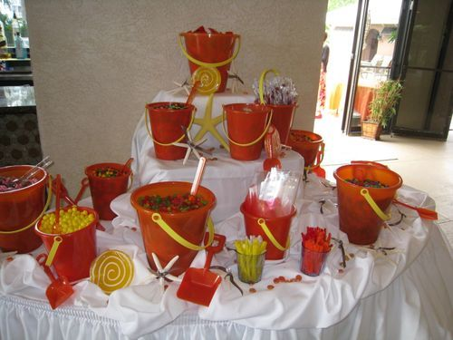 Beach Theme Party Food Service In Buckets White Bottom Table