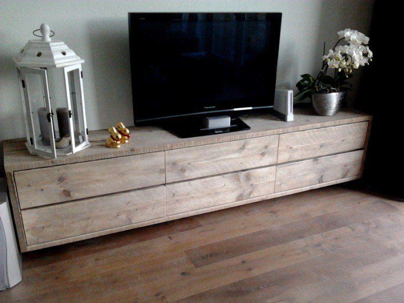 zwevend hangend tv meubel steigerhout steigerhouten tv kast te