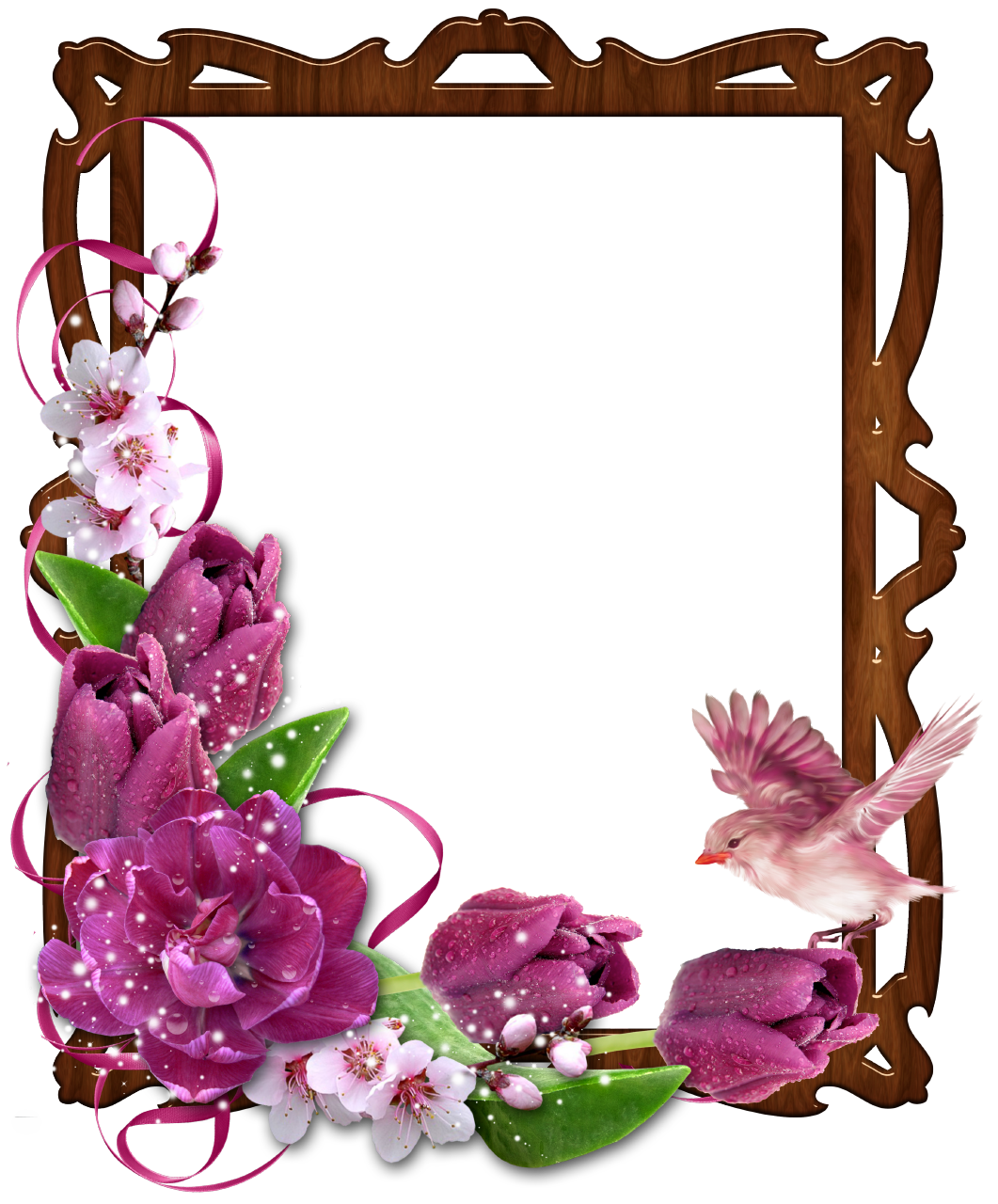Floral Border Wooden Frame with Bird and Flowers