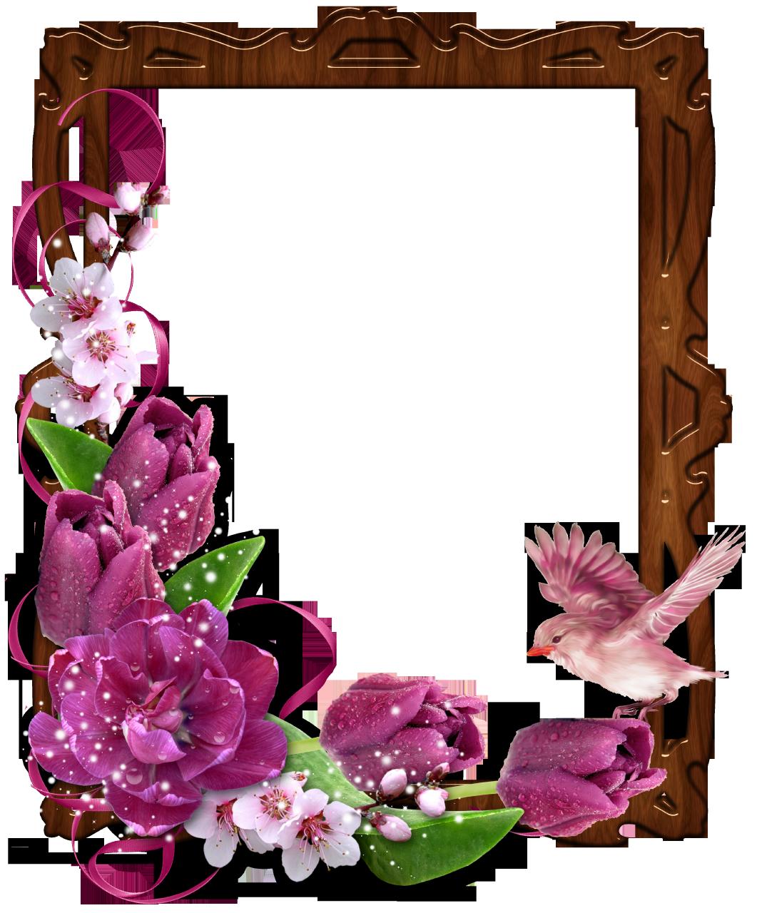 FloralBorderWoodenPhotoFramewithBirdandFlowers