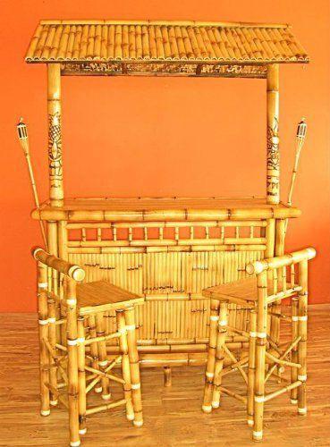 Island Tiki Island Bamboo Tiki Bar With Barstools And
