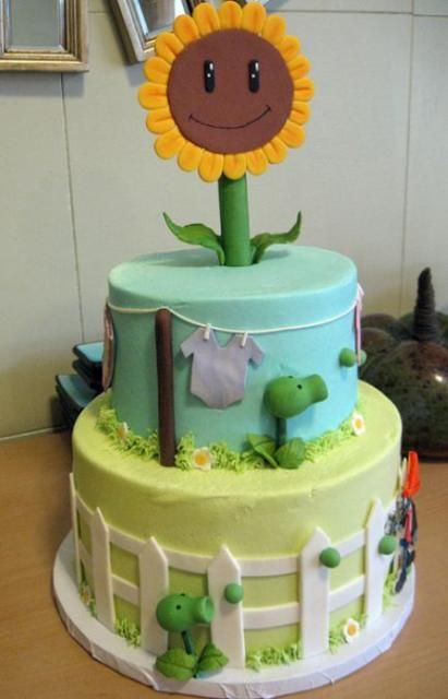 2 tier plants and zombies theme baby shower cake.JPG | Cake Recipes ...