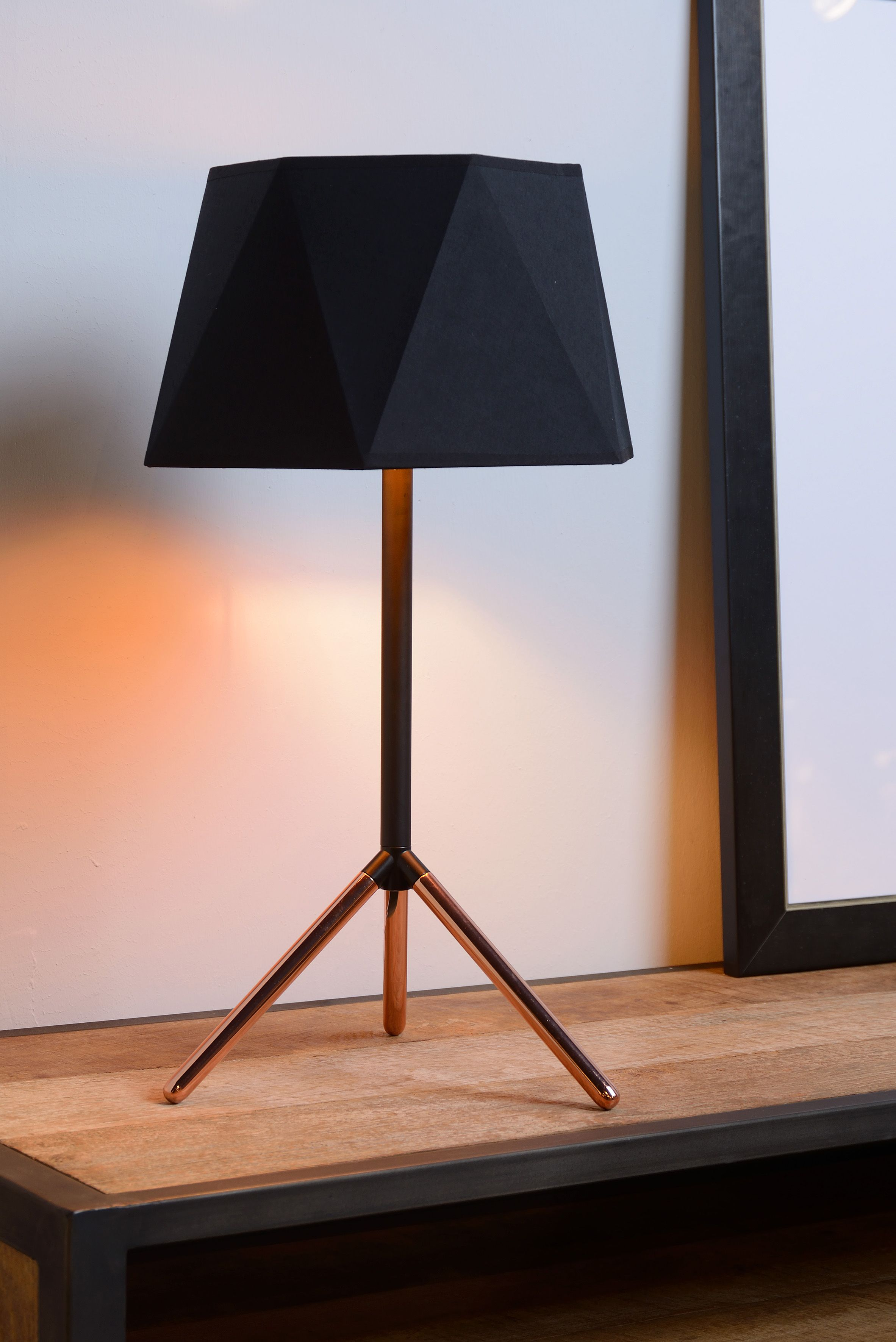 Lucide Alegro Table Lamp O 32 Cm E14 Black Geometric Table Lamp Lamp Table Lamp