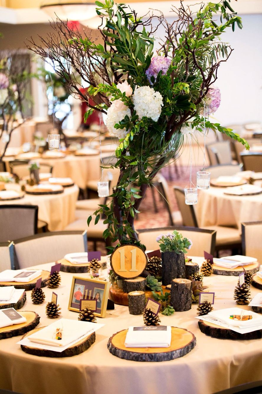 Manzanita Tree Centerpiece With Succulents Hydrangeas Roses And Greens Pine Charger Place Settings