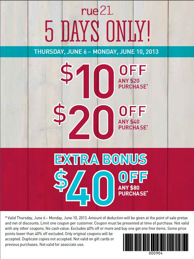 graphic about Rue 21 Coupons in Store Printable known as rue21: $10-$40 off Printable Coupon E mail Notion Printable