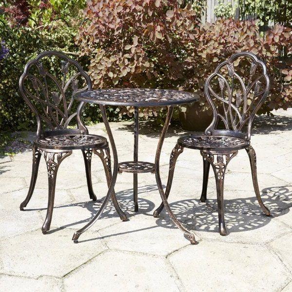 Bronze Bistro Set Aluminium Cast Iron Table Chairs Garden Patio