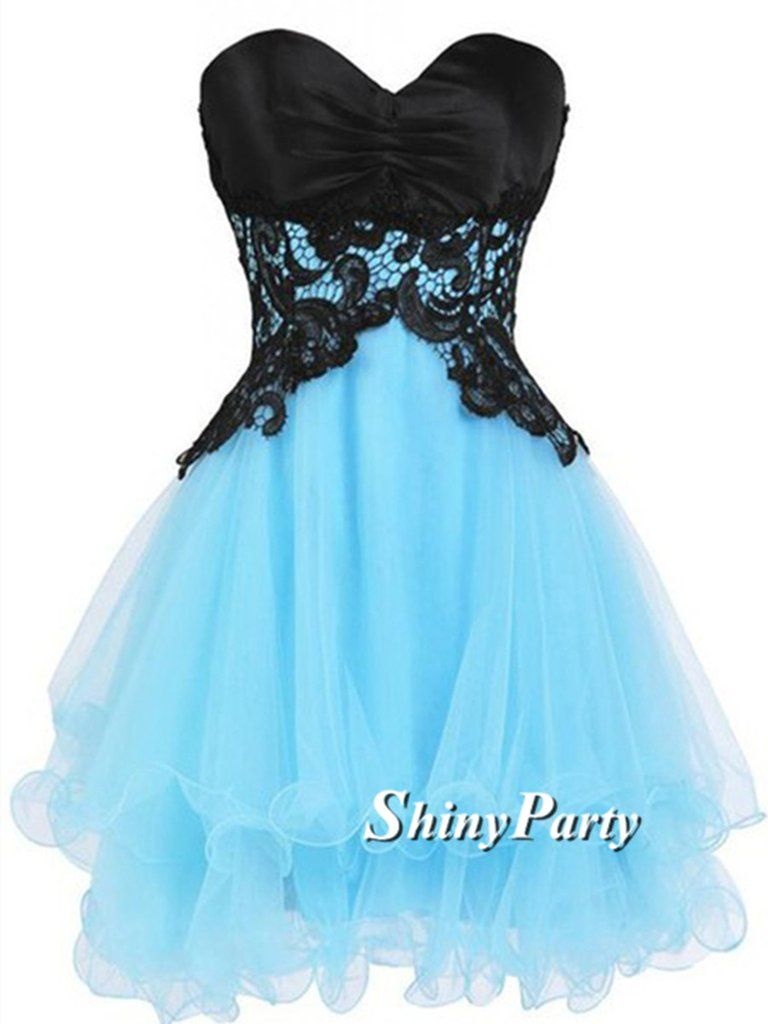 Custom made sweetheart neck short blue prom dress with black lace