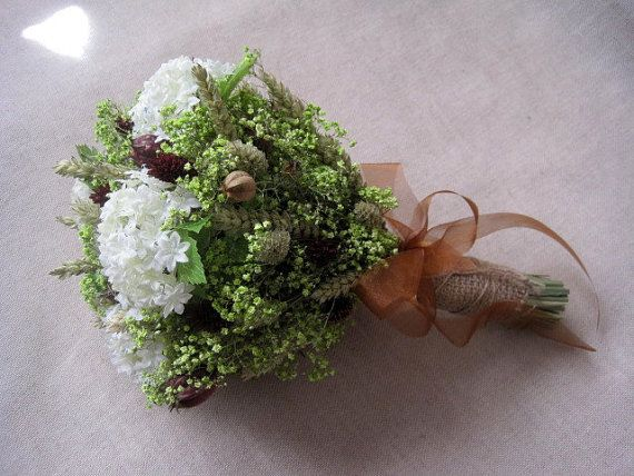 Summer wedding country bridal bouquet shabby chic rustic wedding dried and silk flower bouquet white brown and light green farm wedding