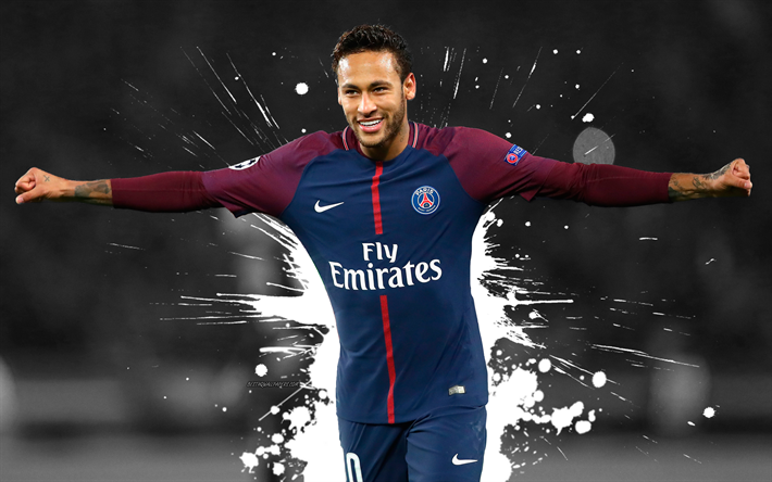 Download wallpapers Neymar Jr, 4k, art, grunge, white