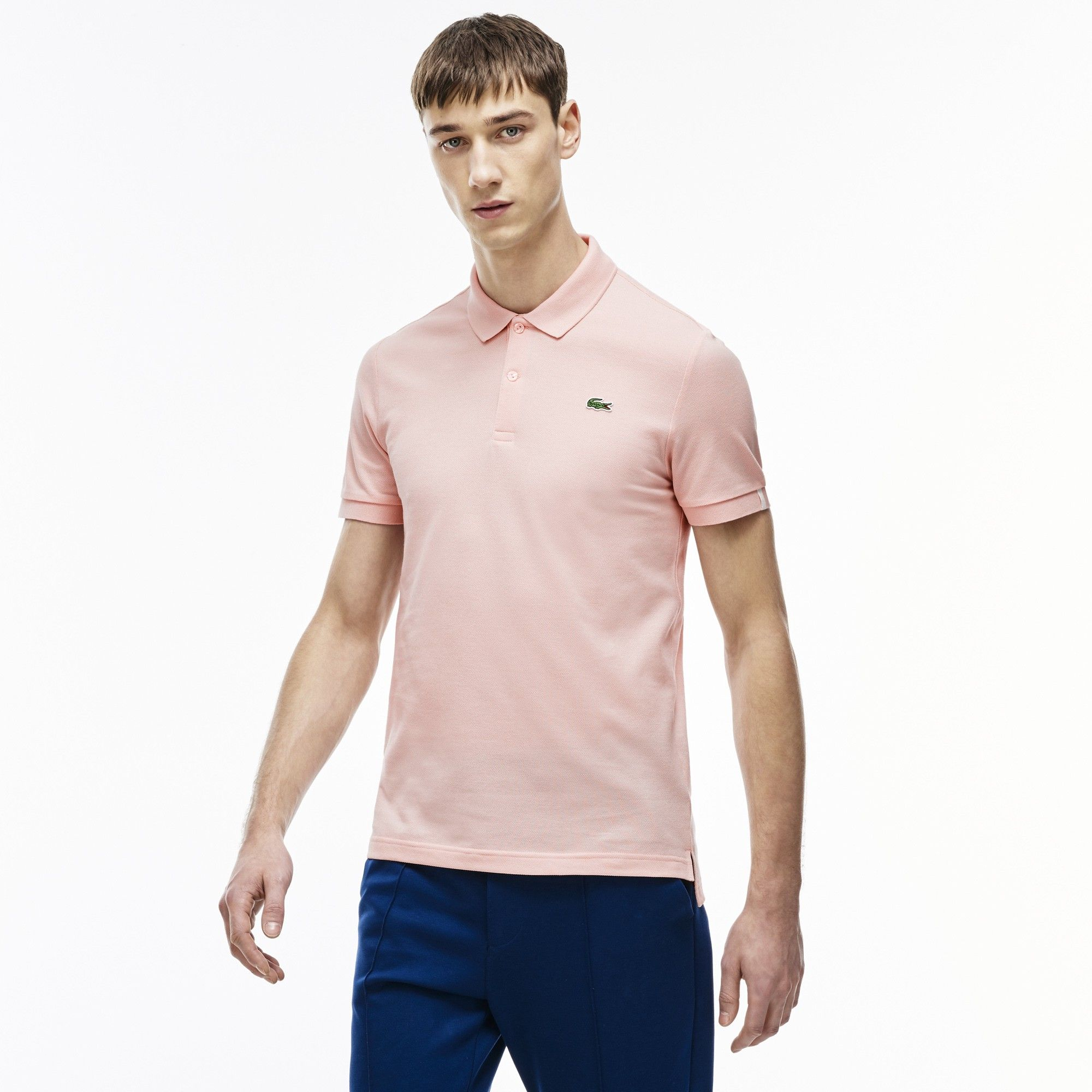 9fba2b05af182 LACOSTE Unisex L!VE Ultra Slim Fit Piqué Polo Shirt - lychee pink.  lacoste   cloth