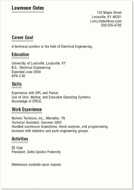 Current Resume formats and Sample College Student Resume Template
