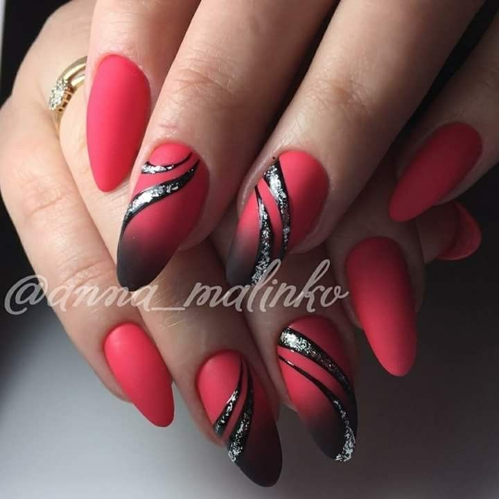 Rot schwarz Nageldesign  #nageldesign #schwarz #HaareSchwarz Red Eyeshadow Haare…