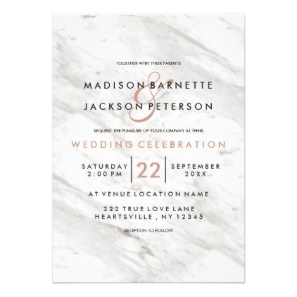 White Marble Rose Gold Modern Wedding Invitations Marble Gifts