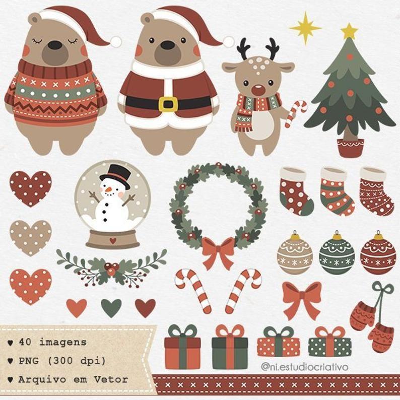 Christmas Bear Clipart Merry Christmas Vector Xmas Png Etsy In 2021 Christmas Vectors Merry Christmas Vector Bear Clipart