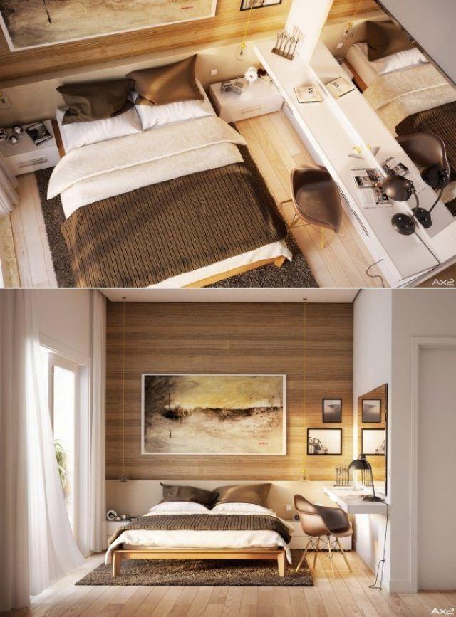 Kleines Schlafzimmer Braun Creme Holz Arbeitsecke