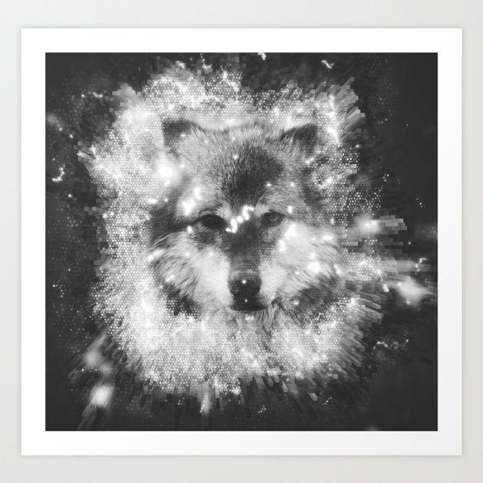 Grid Wolf Black White Art Print By Jawfish Society6