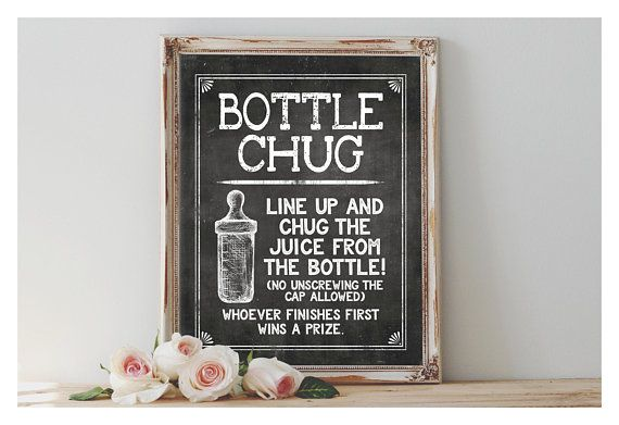 Instant Bottle Chug Printable 8x10 11x14 Sign Baby
