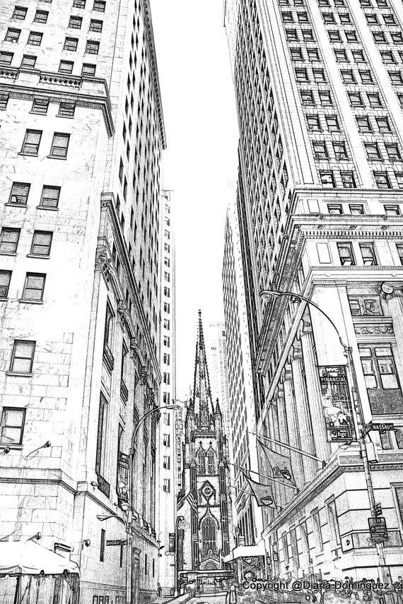Lower Manhattan NYC Sketch 8x10 Drawing New York by ddfoto 4000