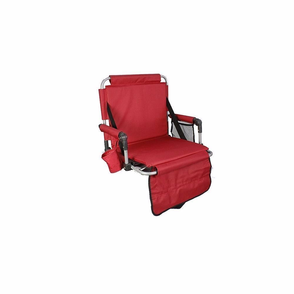 stadium chair for bleachers windsor kitchen chairs portable arms padded bleacher seat red folding tailgating branded