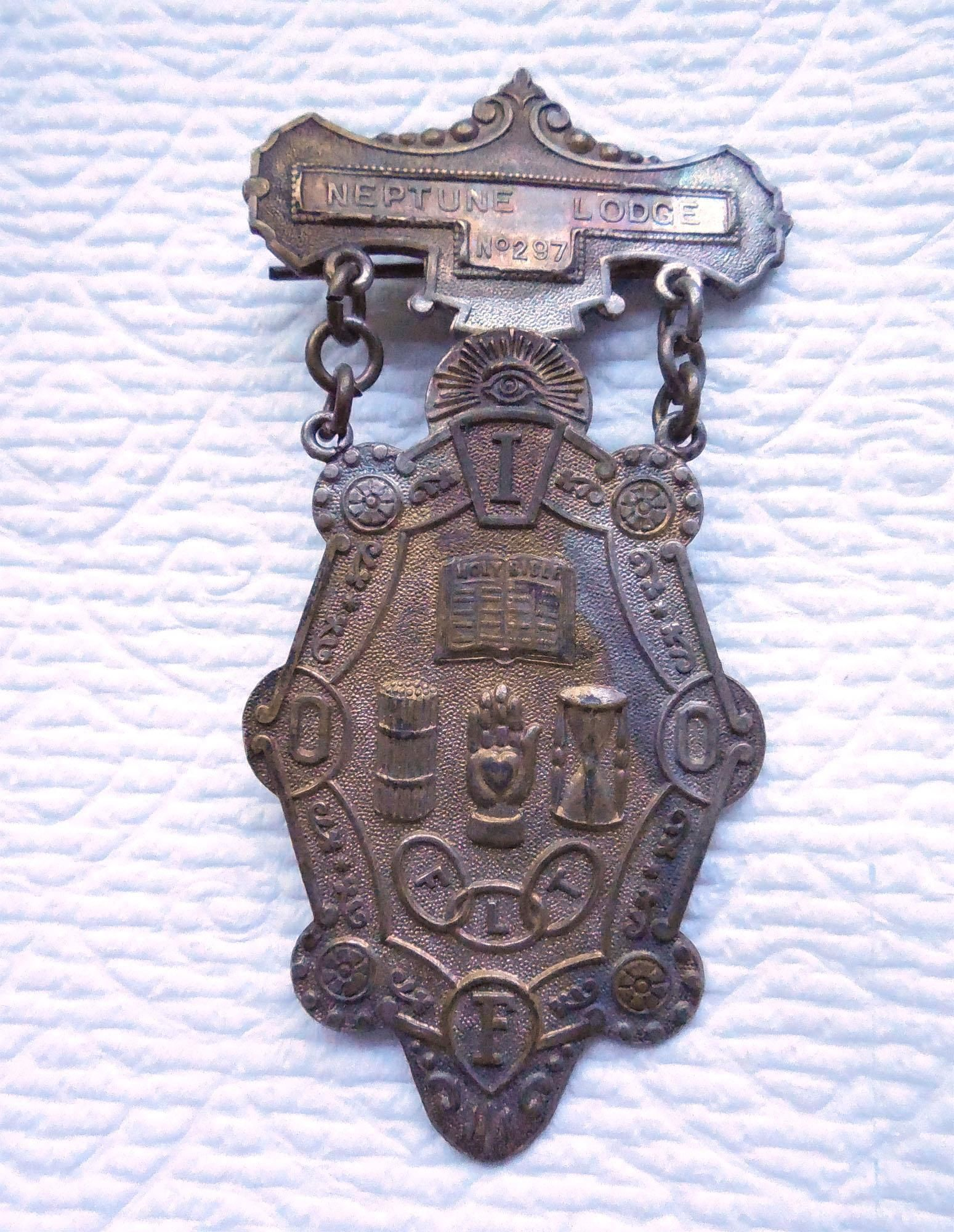 Antique Odd Fellows Badge Neptune Lodge South Haven Michigan
