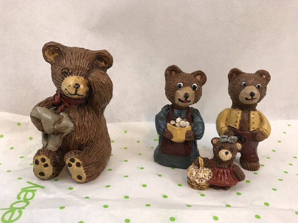 Vintage Lot Of 4 Brown Bear Figurines Signed And Numbered Gift Collectibles   | eBay