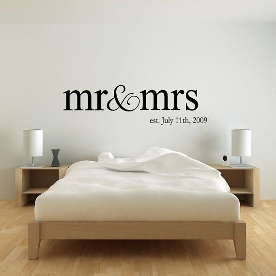 Personalized Name Mr Mrs Wedding Wall Decal Sticker Etsy Bedroom Wall Wall Vinyl Decor Wall Decals For Bedroom