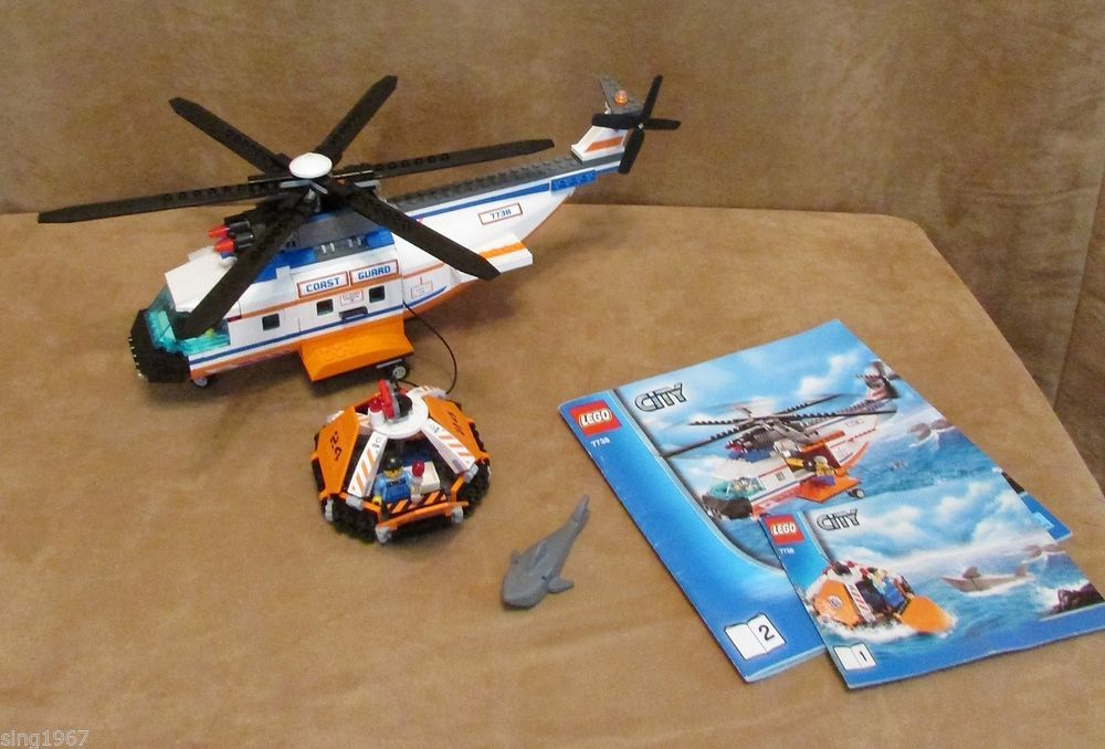 7738 Lego City Complete Coast Guard Helicopter And Life Raft