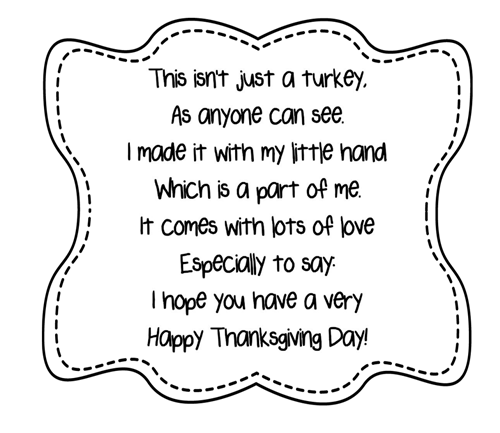Turkey Handprint Poem Printables