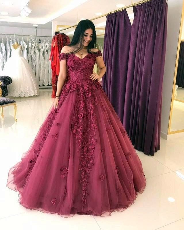 Lace Appliques Prom Dresses Ball Gowns,Tulle Quinceanera Dress,Off ...