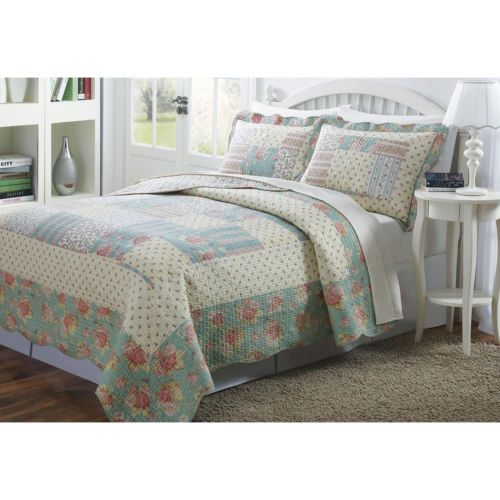 Cozy Ivory White Sage Green Pink Blue Yellow Flower Floral Rose Quilt Set Quilt Sets Bed Spreads Quilted Bedspreads