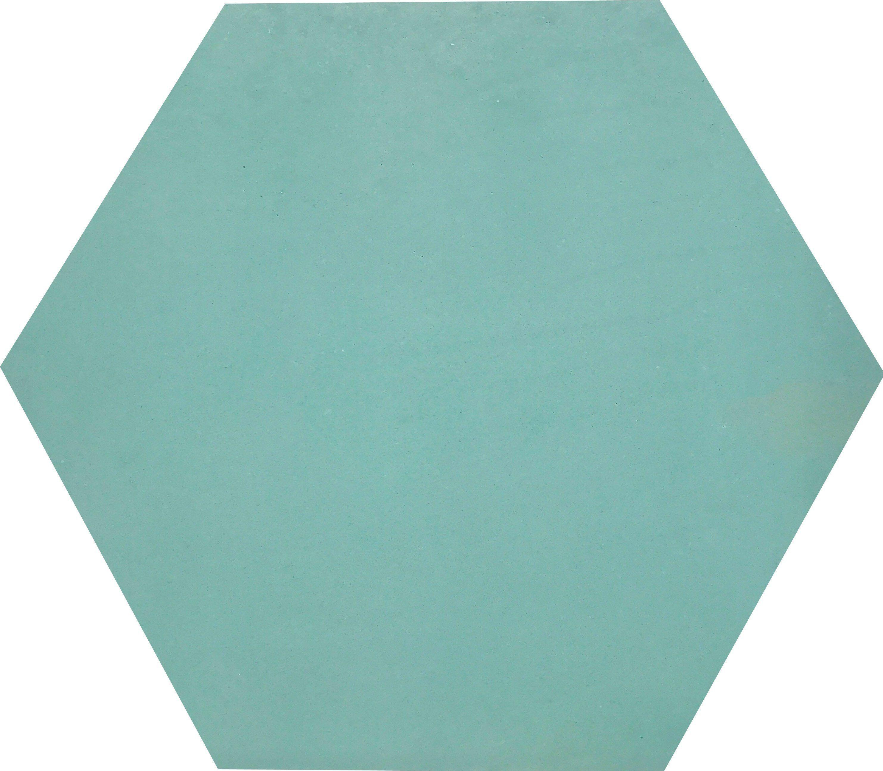 This single hue, bespoke hexagonal tile in Laguna blue ...