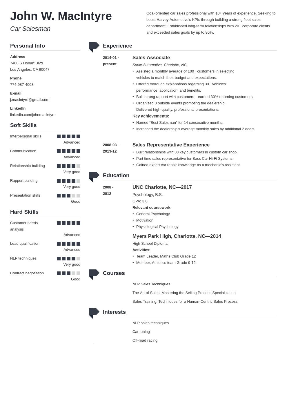 car salesman resume example template muse in 2020 Resume