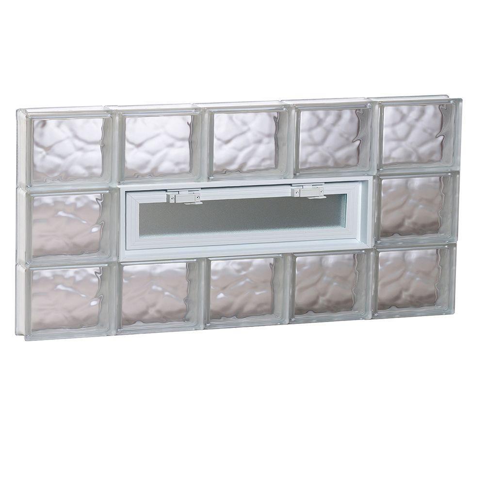 38.75 in. x 17.25 in. x 3.125 in. Wave Pattern Vented Glass Block Window
